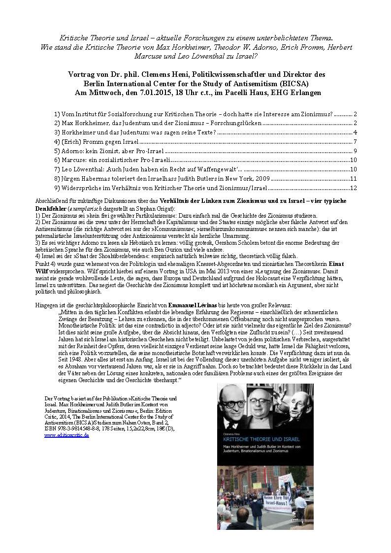 Handout Clemens Heni Kritische Theorie und Israel 08012015 Erlangen