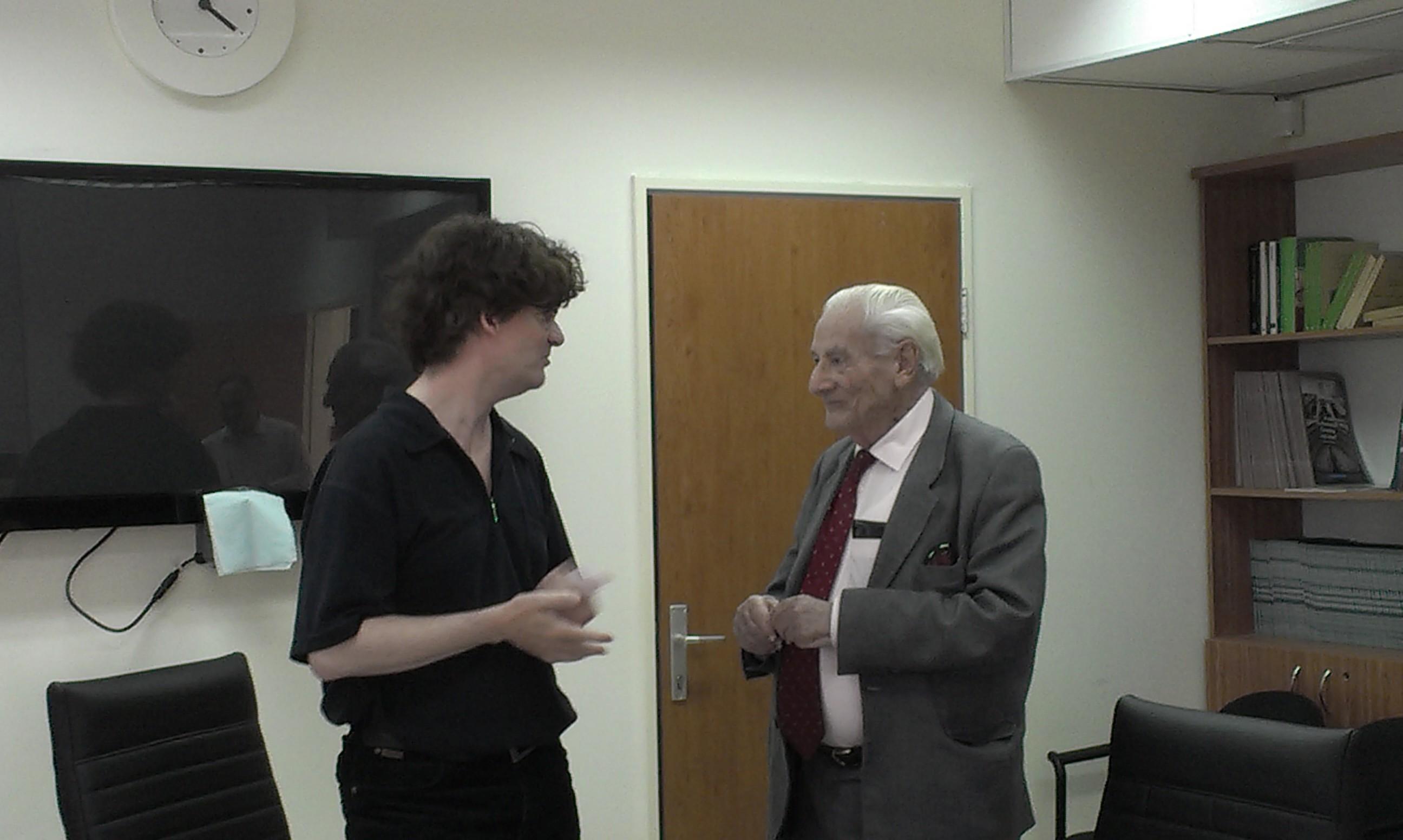 Clemens Heni mit Gabriel Bach, Nebenkläger im Eichmann-Prozess, nach einem Vortrag von Heni beim World Jewish Congress am 27. Mai 2013 in Jerusalem
