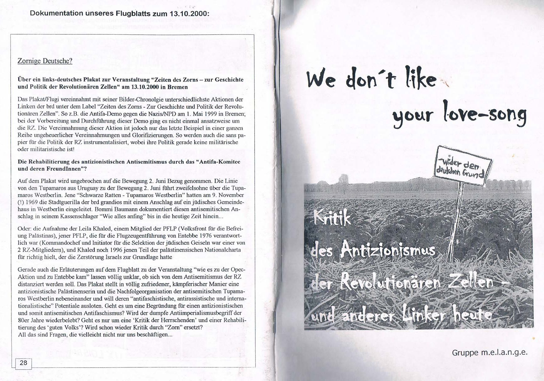 We don't like your love-song. Kritik des Antizionismus der Revolutionären Zellen und anderer Linker heute.